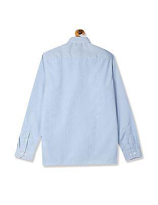 Excalibur Blue Semi Cutaway Collar Mitered Cuff Shirt