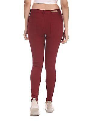 U.S. Polo Assn. Women Red Slim Fit Solid Jeggings