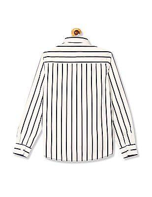 Flying Machine Barrel Cuff Vertical Stripe Shirt