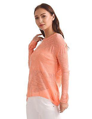 Elle Patterned Knit Solid Top