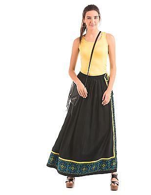 Bronz Contrast Panel Maxi Skirt