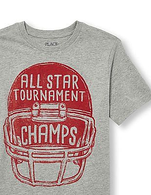 The Children's Place Boys Short Sleeve 'All Star Tournament Champs' Football Helmet Graphic Tee
