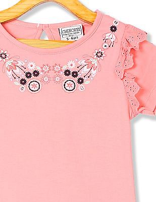 Cherokee Girls Round Neck Embroidered Top