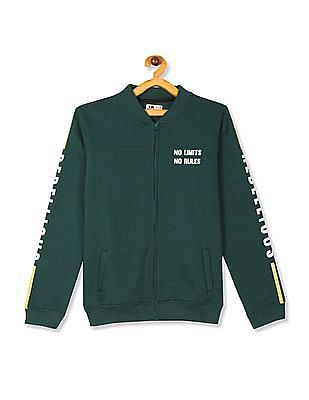 FM Boys Green Boys High Neck Printed Sweatshirt