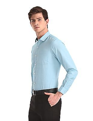 Excalibur Green Semi Cutaway Collar Patterned Shirt