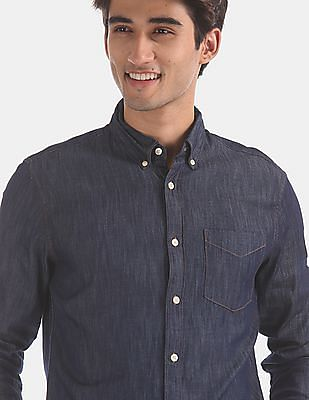 GAP Blue Slim Fit Long Sleeve Denim Shirt