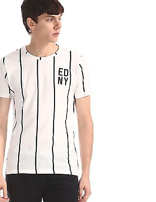 Ed Hardy White Vertical Stripe Crew Neck T-Shirt