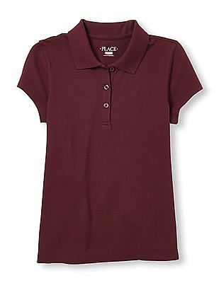 The Children's Place Girls Red Short Sleeve Pique Polo Shirt