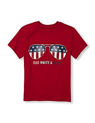 The Children's Place Boys Red Crew Neck Graphic T-Shirt
