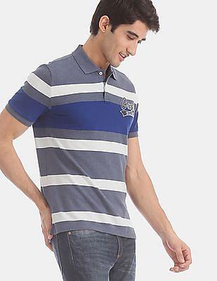 GAP Blue Brand Logo Striped Polo Shirt