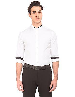 Flying Machine Mandarin Collar French Placket Shirt