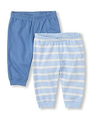 The Children's Place Baby Blue Knit Pants - Pack Of 2