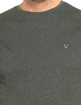 Ruggers Green Round Neck Heathered T-Shirt