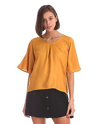 Cherokee Flared Sleeve Patterned Top