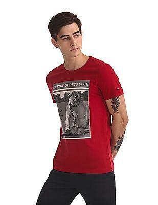 Arrow Sports Crew Neck Printed T-Shirt