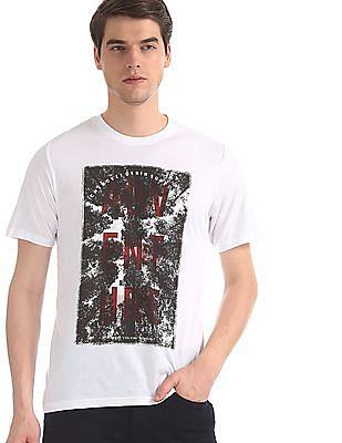 Cherokee White Distressed Print Crew Neck T-Shirt