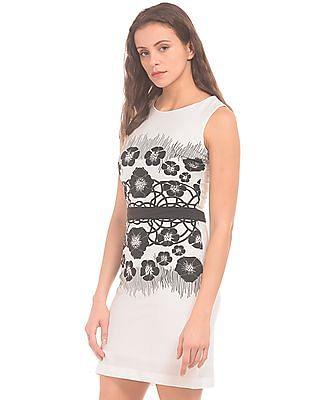 Cherokee Floral Printed Cutout Back Sheath Dress