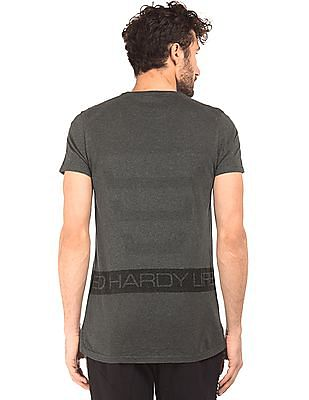 Ed Hardy Heathered Printed Back T-Shirt