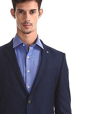 Arrow Newyork Blue Notch Lapel Collar Single Breasted Suit