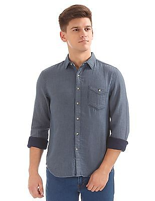 Cherokee Patterned Weave Cotton Shirt