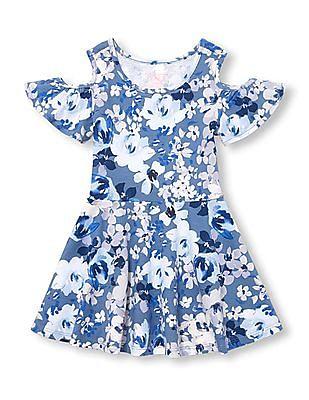 The Children's Place Toddler Girl Short Sleeve Floral Print Cold-Shoulder Knit Dress
