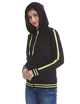 Flying Machine Women Black Drawstring Hood Solid Sweatshirt