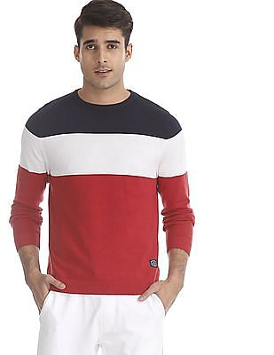 Flying Machine Multi Colour Crew Neck Colour Block Sweater