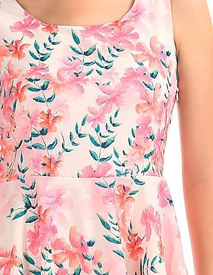 Elle Floral Print Fit And Flare Dress