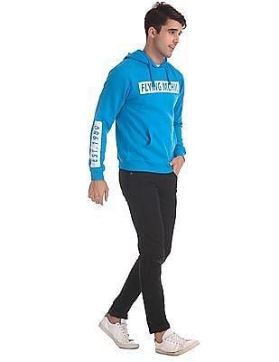 Flying Machine Blue Drawstring Hood Brand Print Sweatshirt