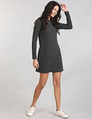 GAP Women Grey Colour Block Ribbed Swing Dress