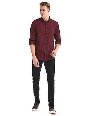 Roots by Ruggers Red Semi Cutaway Collar Patterned Shirt