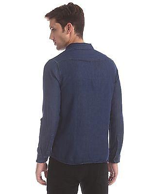 Cherokee Blue Spread Collar Chambray Shirt