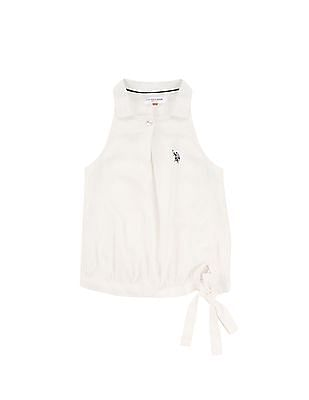 U.S. Polo Assn. Kids Girls Collared Neck Sleeveless Top