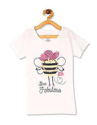 Cherokee White Girls Printed Cotton Jersey T-Shirt