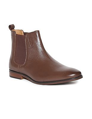 U.S. Polo Assn. Brown Textured Chelsea Boots