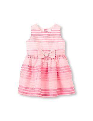 The Children's Place Toddler Girl Sleeveless Multi Stripe Bow Flare Dress