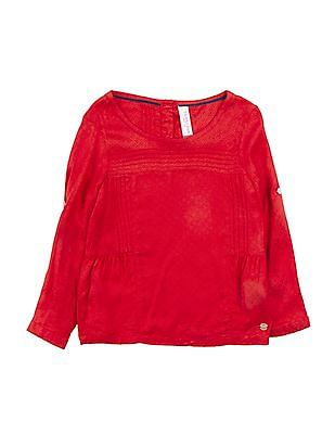 U.S. Polo Assn. Kids Girls Pin Tuck Jacquard Top