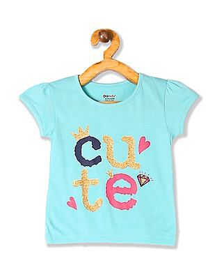 Donuts Green Girls Puff Sleeve Glitter Graphic T-Shirt