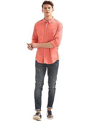 Aeropostale Button-Down Collar Printed Shirt