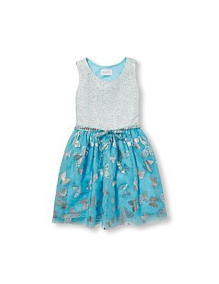4c3d0656 The Children's Place Girls Sleeveless Sparkle Foil Butterfly Print Mesh  Belted Woven Dress