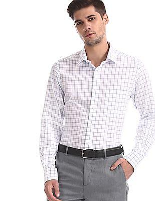 Arrow White Mitered Cuff Check Shirt