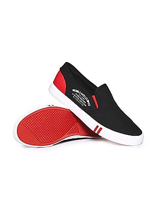 Flying Machine Striped Trim Canvas Slip On Shoes