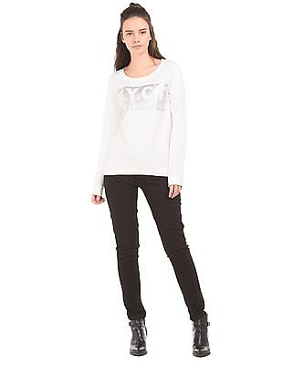 Flying Machine Women Foil Print Round Neck Sweatshirt