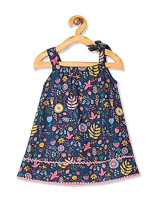 Donuts Girls Floral Print A-Line Dress