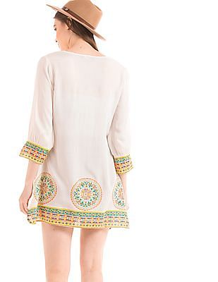Bronz Pleated Front Printed Tunic