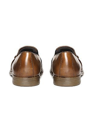 Arrow Textured Leather Slip On Shoes