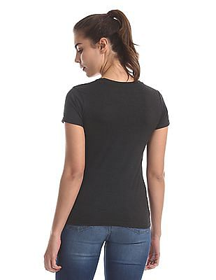 SUGR Grey Graphic Print Cotton T-Shirt