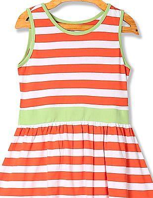 U.S. Polo Assn. Kids Girls Striped Sleeveless Fit And Flare Dress