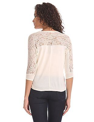 U.S. Polo Assn. Women Extended Sleeve Lace Top