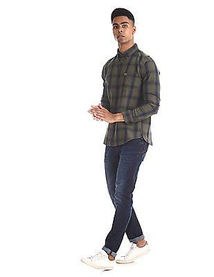 U.S. Polo Assn. Denim Co. Green Button Down Collar Check Shirt